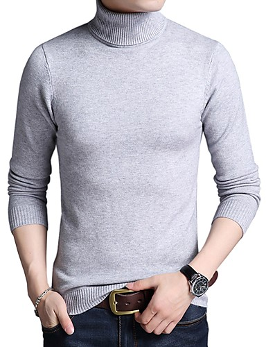 צבע אחיד - סוודר שרוול ארוך גולף עבודה בגדי ריקוד גברים
