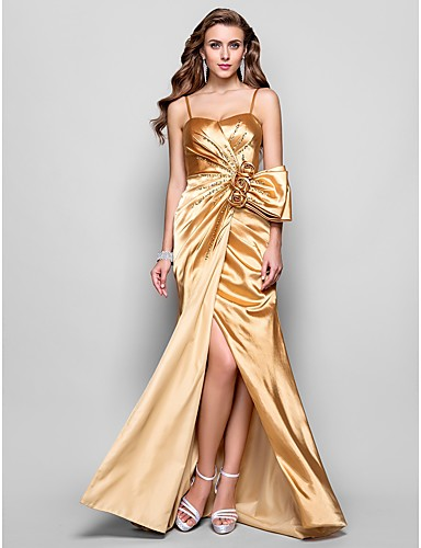 A-Line Spaghetti Straps Floor Length Stretch Satin Prom / Formal Evening / Military Ball Dress with Flower Split Front by TS Couture®