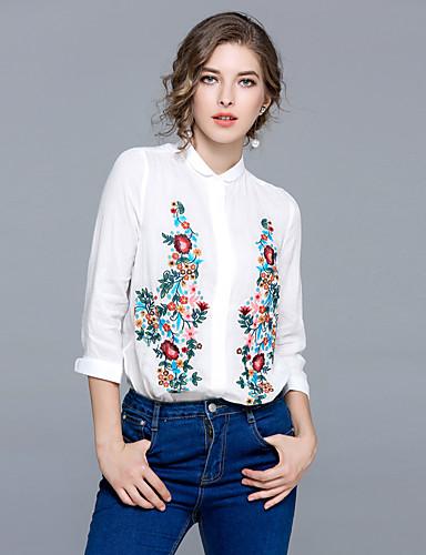 billige Dametopper-Puffermer Skjortekrage Skjorte Dame - Blomstret, Broderi Vintage Ut på byen