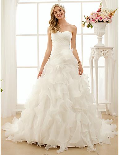 A-Line Princess Sweetheart Court Train Organza Wedding Dress with Cascading Ruffle Criss-Cross by LAN TING BRIDE®