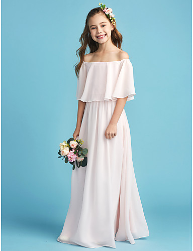 f6bd32096d083 A-Line Off Shoulder Floor Length Chiffon Junior Bridesmaid Dress with  Pleats by LAN TING BRIDE®