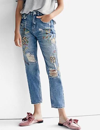 מכנסיים פרחוני ג'ינסים וינטאג' בגדי ריקוד נשים