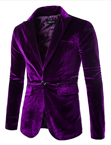 Men's Velvet Blazer - Solid Colored Notch Lapel