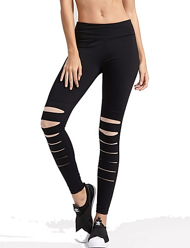 8037ec0e137 Women s Cut Out Running Pants Black Red Sports Spandex Pants   Trousers  Leggings Bottoms Yoga Fitness Gym Workout Activewear Breathability