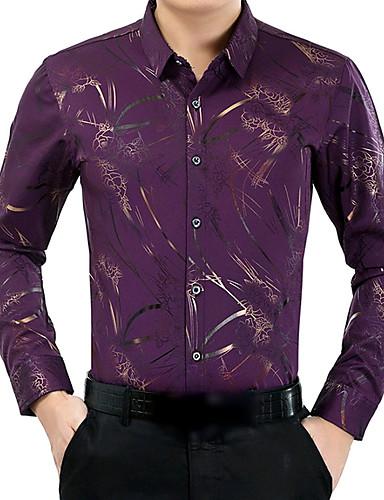 צבע אחיד חולצה - בגדי ריקוד גברים צבע טהור / שרוול ארוך