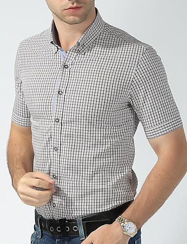 משובץ פשוט ספורט כותנה, חולצה - בגדי ריקוד גברים / עומד / שרוולים קצרים