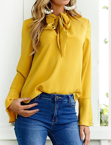 abordables Camisas y Camisetas para Mujer-Mujer Noche Blusa, Escote en Pico Un Color Rosa M / Primavera / Con Lazo / manga de la llamarada