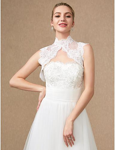 ราคาถูก ผ้าคลุมสำหรับชุดแต่งงาน-เสื้อไม่มีแขน ลูกไม้ / Tulle งานแต่งงาน / งานปาร์ตี้ / งานราตรี Women's Wrap กับ เข็มกลัด / กระดุม / ลูกไม้ เสื้อกั๊ก