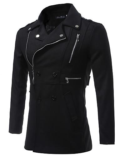 כותנה בגדי ריקוד גברים שחור L XL XXL בלשית אחיד צווארון חולצה / שרוול ארוך / סתיו