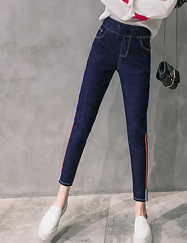 בגדי ריקוד נשים כותנה צ'ינו ג'ינסים מכנסיים - גיזרה גבוהה פסים