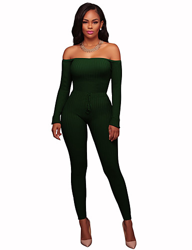 875c707052 Women s Off Shoulder Daily   Going out Off Shoulder Gray Fuchsia Army Green  Jumpsuit
