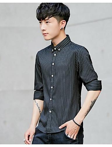 פסים צוארון עם כפתור עבודה חולצה - בגדי ריקוד גברים דפוס / שרוול ארוך