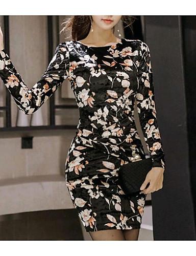 מותניים גבוהים פרחוני - שמלה צינור בגדי ריקוד נשים