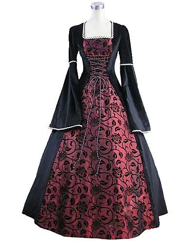 1f56b94c99a Rococo Victorian Pleuche Γυναικεία Φορέματα Cosplay Μπλε / Μαύρο Βραδινή  τουαλέτα Φλοράλ Καμπάνα Μακρυμάνικο Μέχρι τον αστράγαλο Κοστούμια