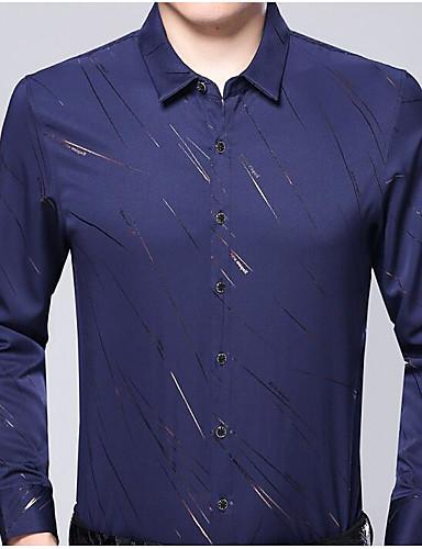 גיאומטרי צווארון קלאסי חולצה - בגדי ריקוד גברים דפוס / שרוול ארוך