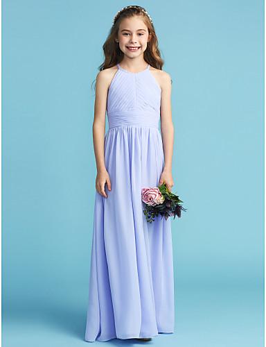 03a3c2804 A-Line / Princess Crew Neck Floor Length Chiffon Junior Bridesmaid Dress  with Sash / Ribbon / Side Draping / Pleats by LAN TING BRIDE®