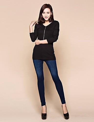 בגדי ריקוד נשים כותנה סקיני מכנסיים אחיד / קיץ