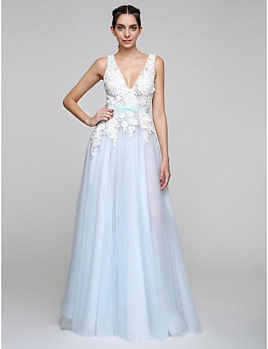A-Line V-neck Floor Length Tulle Prom Formal Evening Dress with Appliques Bow(s) by TS Couture®