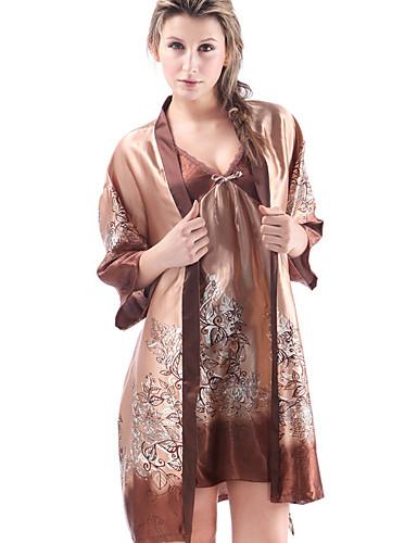 obtenir pas cher Garantie de satisfaction à 100% magasiner pour véritable Costumes Satin & Soie Pyjamas Femme-Stylé,Fleur