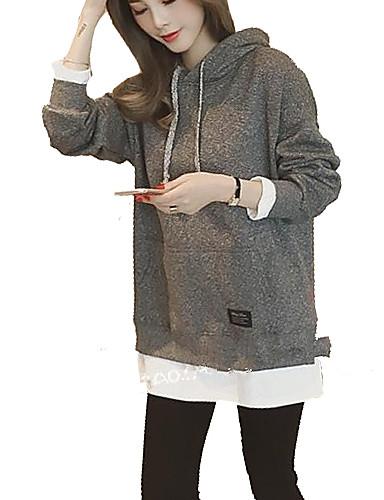 Damen Kapuzenshirt Alltag Freizeit Solide Baumwolle