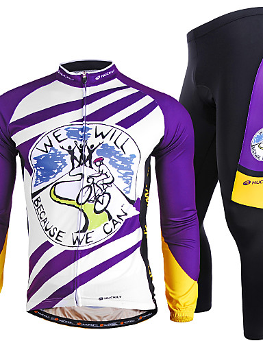 cheap Cycling Clothing-Nuckily Men's Long Sleeve Cycling Jersey with Tights - Purple Bike Clothing Suit Windproof Breathable Quick Dry Ultraviolet Resistant Reflective Strips Sports Polyester Lycra Painting Mountain Bike
