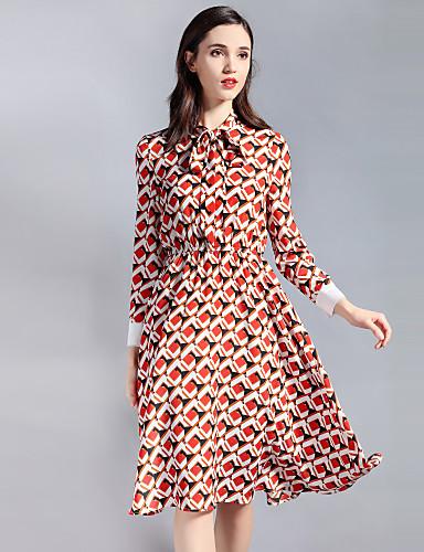 עומד Ruched, גיאומטרי קולור בלוק - שמלה גזרת A נדן סווינג בגדי ריקוד נשים