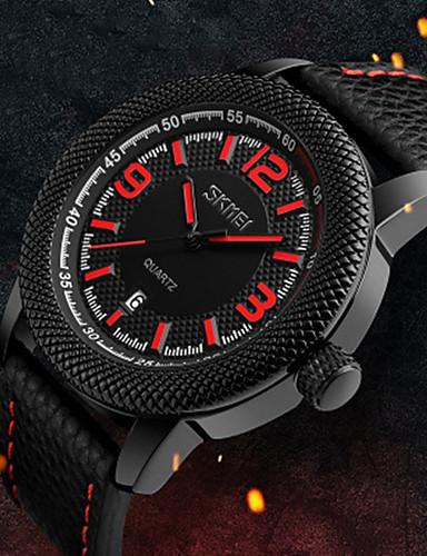 c9e9d9d51d98 SKMEI Hombre Reloj Deportivo Japonés Cuarzo Cuero Auténtico Negro 50 m  Resistente al Agua Calendario Reloj