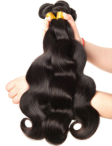 cheap Sale-3 Bundles Brazilian Hair Body Wave 10A Virgin Human Hair Natural Color Hair Weaves / Hair Bulk 8-28 inch Human Hair Weaves Human Hair Extensions