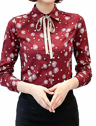 פרחוני צווארון חולצה סגנון רחוב עבודה חולצה - בגדי ריקוד נשים פפיון