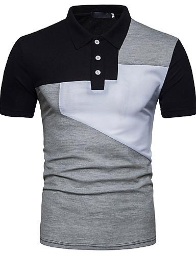 voordelige Herenpolo's-Heren Actief Standaard Polo Kleurenblok Overhemdkraag Slank Zwart & Wit Wit / Korte mouw / Zomer