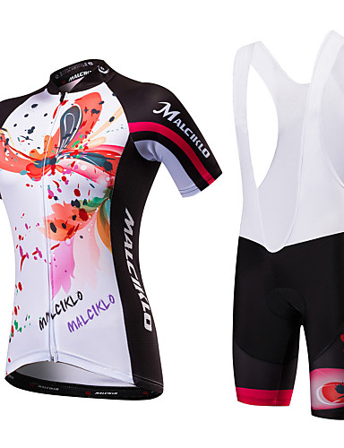 15e861dbf Malciklo Women s Short Sleeve Cycling Jersey with Bib Shorts - Black    White Black   Red Floral   Botanical Bike Clothing Suit Breathable Quick  Dry Anatomic ...
