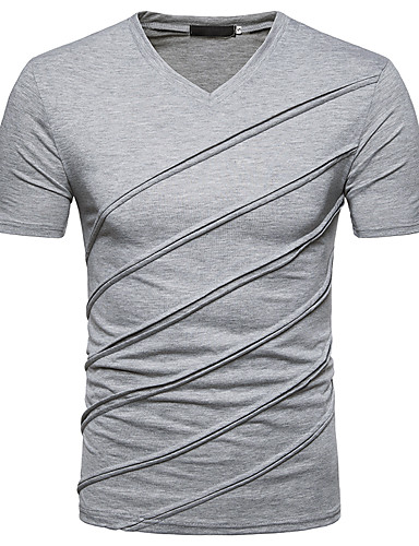 Men's Street chic Slim T-shirt - Solid Colored V Neck / Short Sleeve