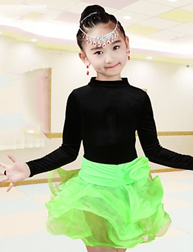 3de5f4a09d15 Latin Dance Outfits Girls' Performance Spandex Ruching Long Sleeves Natural  Skirts Top