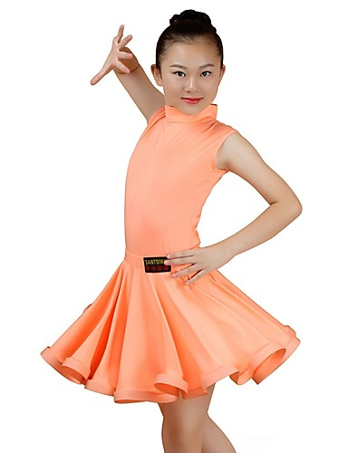 6e3d56ac8e68 Latin Dance Outfits Girls' Performance Spandex Ruching Sleeveless Natural  Skirts Top