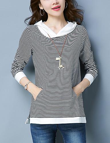 billige Topper til damer-Bomull Løstsittende Store størrelser T-skjorte Dame - Stripet / Fargeblokk Enkel Ut på byen Svart / Vår