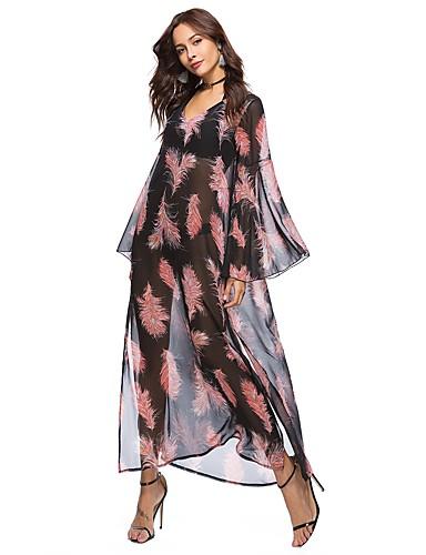 צווארון V מקסי מפוצל דפוס, פרחוני - שמלה משוחרר שיפון שרוול התלקחות בוהו חוף בגדי ריקוד נשים