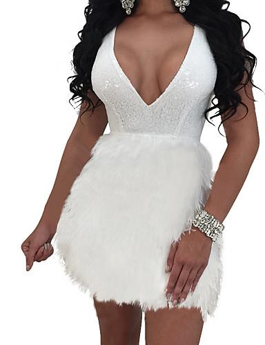 לבן צווארון V מיני צבע אחיד - שמלה נדן סקייטר\מחליקה על הקרח בסיסי ליציאה בגדי ריקוד נשים