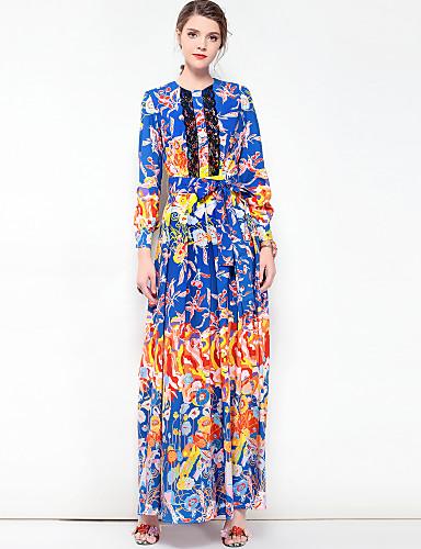 מקסי בסיסי, פרחוני קולור בלוק - שמלה משוחרר מידות גדולות בוהו בגדי ריקוד נשים