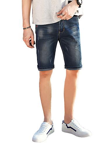 בגדי ריקוד גברים סגנון רחוב מידות גדולות שורטים ג'ינסים מכנסיים חור, אחיד