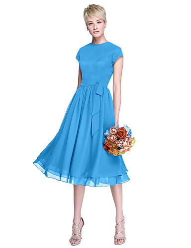 abordables robe invitée mariage-Trapèze Bijoux Mi-long Mousseline de soie Robe de Demoiselle d'Honneur  avec Noeud(s) / Boutons par LAN TING BRIDE®