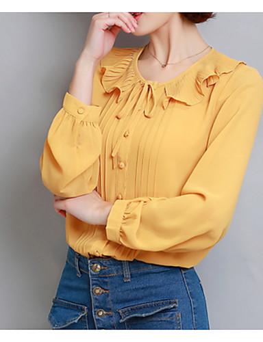 hesapli Bluz-Kadın's Bluz Fiyonklar, Solid Temel Tatil Gül kurusu Doğal Pembe / Bahar / Yaz / Fırfırlı