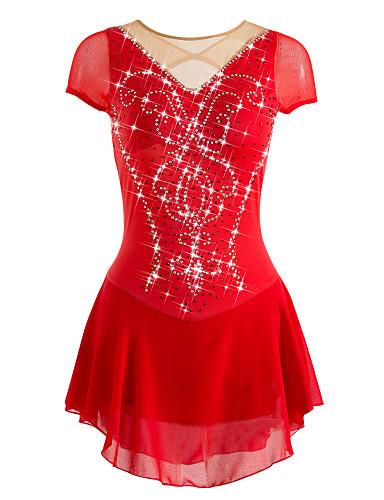 abordables Robe de Patinage-Robe de Patinage Artistique Femme Fille Patinage Robes Rouge Haute élasticité Entraînement Sport de détente Compétition Tenue de Patinage Respirable Design Anatomique Fait à la main Mosaïque / Hiver