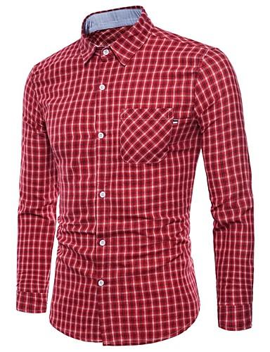 ffd31d1a852 Men s Work Business   Basic Cotton Slim Shirt - Geometric   Plaid   Check  Print   Long Sleeve  06722018