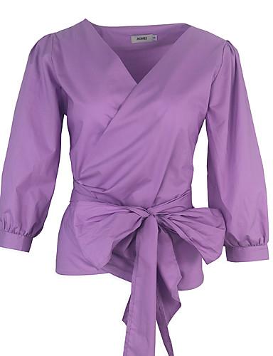 אחיד פסים צווארון חולצה חולצה - בגדי ריקוד נשים בסיסי