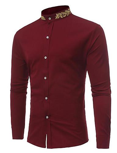 9877a80773381fd Муж. Классический Рубашка Воротник-стойка Тонкие Уличный стиль Цветочный  принт Белый M / Длинный рукав