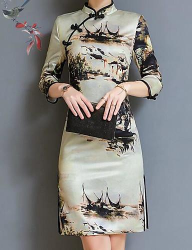 Damskie Wzornictwo chińskie Bufka Shift Sukienka - Geometryczny, Nadruk Stójka Przed kolano