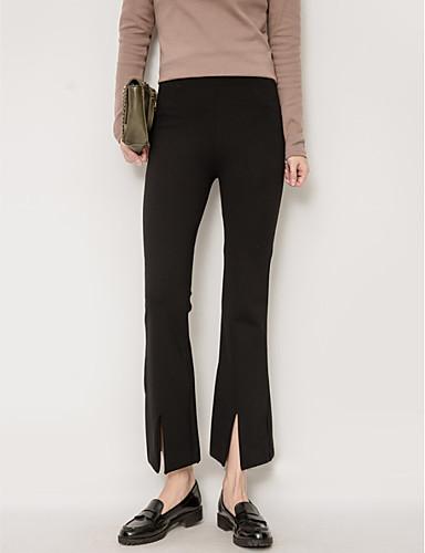 Damskie Bawełna Typu Chino Spodnie - Patchwork, Jendolity kolor Wysoka Talia