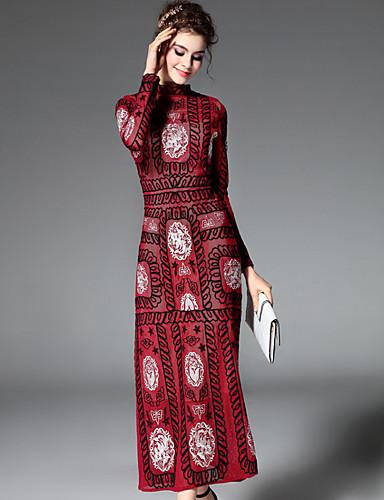 voordelige Maxi-jurken-Dames Verfijnd Ruimvallend Jurk - Bloemen / Geometrisch, Geborduurd Strakke ronde hals Maxi