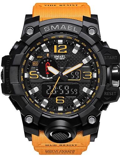 SMAEL Men's Sport Watch Military Watch Bracelet Watch Digital Quilted PU Leather Black / Blue / Red 30 m Water Resistant / Waterproof Alarm Calendar / date / day Analog-Digital Charm Luxury Vintage