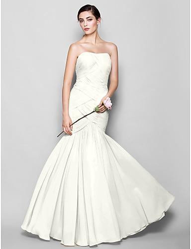 זול שמלות שושבינות ארוכות-צמוד ומתרחב לב (סוויטהארט) עד הריצפה שיפון שמלה לשושבינה  עם בד בהצלבה על ידי LAN TING BRIDE® / גב פתוח